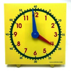 Yellow Student Clock Teaching Learning Tool Aid Homeschool Home School Toy