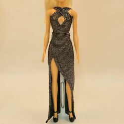 Silver Doll dress -Handmade Doll Clothes 11.5 in