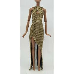 Gold Doll dress -Handmade Doll Clothes 11.5 in