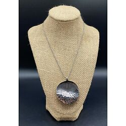 SILPADA-Sterling Silver Hammered Textured Oxidized Disc Pendant Necklace N1496