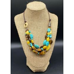 SILPADA-Sterling Silver Turquoise Tigers Eye Quartzite Leather Necklace N1858 #2
