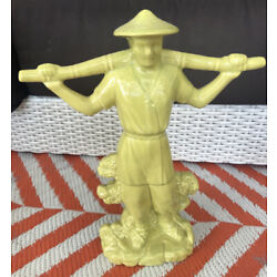 Vintage Asian Porcelain Figurine Tall Mud Man Chinoiserie Chic MCM Decor Italy