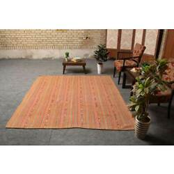 Vintage Striped Pink Hand Knotted Oriental Wool Traditional Kilim Area Rug 6x7