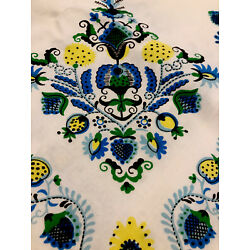 """Vintage 1960's/70's Blue Green Swedish Style  Tablecloth 52"""" X 64"""""""