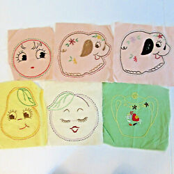 6 WHIMSICAL HAND EMBROIDERED FACES DOG PEAR PEACH TEAPOT