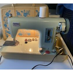 Vintage Brother Charger 031 Sewing Machine Mint Green With Flower Pattern Case