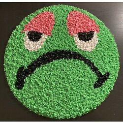 60s 70s Melted Plastic Popcorn Wall Decor Groovy Hippie Wall Art Green Frog Face