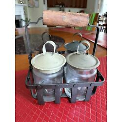 Primitive Country Style - 4 Small Bottles With Lids with Metal Carrier