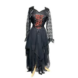 Raven Black With Red Insert Long Dress With Chiffon Bias Layers In U.K. 10/34