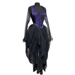 Raven Black/Purple Long Dress With Spider Overlay In U.K. 14/38 bust
