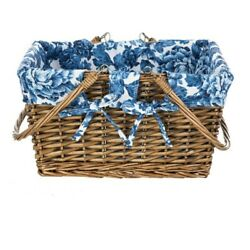 NEW THE PIONEER WOMAN WICKER PICNIC BASKET WITH BLUE HERITAGE FLORAL LINER