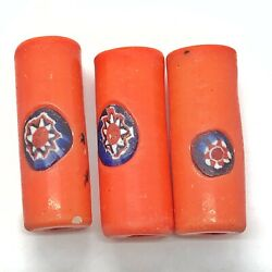 3 Authentic Antique Opaque Glass Tube Beads - Middle East Circa 1700-1800 s Old