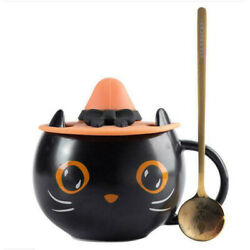 2021 Halloween Gifts Star Black Cat Cup With Witch Cap Lid&Spoon Water Mug bucks