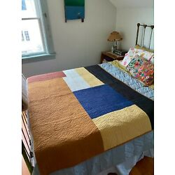 FERM LIVING Scandinavian Quilted SHAY PATCHWORK Colorblock Quilt Blanket Bed Top