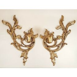 Unique 1960's Pair SYROCO WOOD Gold Candle Sconces Hollywood Regency Nice Patina
