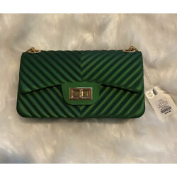 LA Express Quilted Chevron Jelly Crossbody Bag Emerald Green NWT