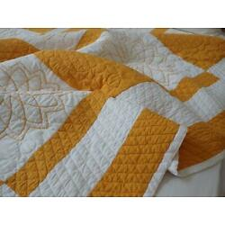 FALL COLOR Vintage Rich Cheddar & White Embroidered QUILT 84x76