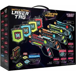 Rechargeable Laser Tag Set + Innovative LCDs and Sync   4 Infrared Guns & Vests