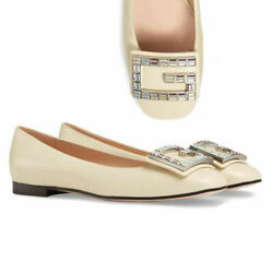 GUCCI SHOES MADELYN FLATS CRYSTAL G BUCKLE WHITE LEATHER $980 IT 38 US 8