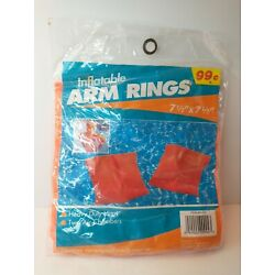 Vintage Inflatable Swimming Arm Rings Bands Orange