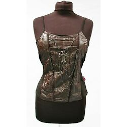 Raven Gothic  Black  Vest With metal cross and chain One Size deadstock