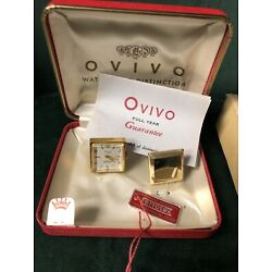 Vintage Ovivo Watch  Cufflinks in Case. Original Tags And Papers