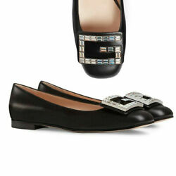GUCCI SHOES MADELYN FLATS CRYSTAL G BUCKLE BLACK LEATHER $980 IT 37 US 7