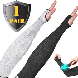 One Pair Cut-resistant Armband Anti-cut Sleeves Arm Guard Protection Black/Grey