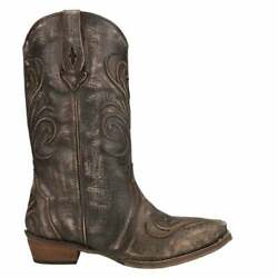 Roper Thick Embroidered Snip Toe   Womens  Western Cowboy Boots   Mid Calf Low