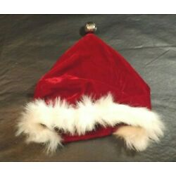DOG CANINE SANTA CLAUS CAP WITH BELL KYJEN CO. 1996 -13'' LONG WITH 3'' ADJUSTMENT