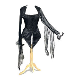 Raven Black Spider Web Front Corseted With Morticians Sleeves Uk 12  M Bust 36