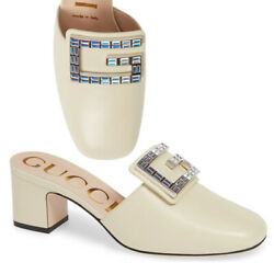 GUCCI SHOES MADELYN CRYSTAL G BUCKLE WHITE LEATHER MULES $890 IT 38 US 8