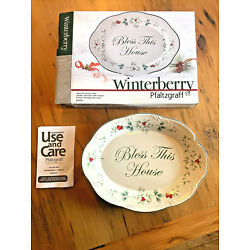 PFALTZGRAFF Winterberry BLESS THIS HOUSE Oval Plate  Winterberry  New!