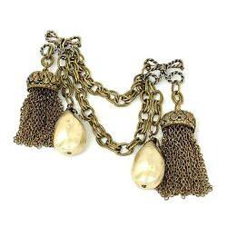 Vintage Adele Simpson Chatelaine Pin w Large Faux Pearls & Tassels Signed