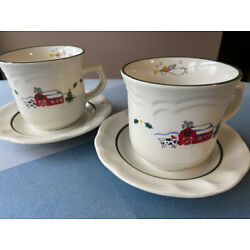 Set of 2 Pfaltzgraff Snow Village Cup and Saucer Christmas Red Barn Cow Angel