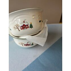 Pfaltzgraff SNOW VILLAGE Soup Cereal Bowls SET OF TWO
