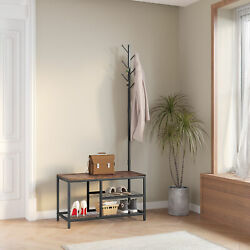 70.4  H Industrial Hall Tree with Bench/Shoe Storage, 3-in-1 Entryway Coat Rack