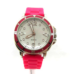 Ladies Silver Tone Watch Silicon Bright Pink Color Buckle Band Brand Unknown