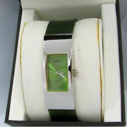 Envy Watch Green Watch Face Rectangle Silver Frame Green Band Buckle Closure EUC