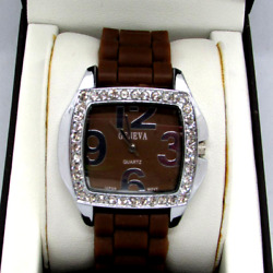 Geneva Ladies Silver Jeweled Watch Silicon Chocolate Brown Color Buckle Band