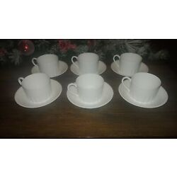 Set of 4 Wedgwood White Colosseum Cups and Saucers Made in England