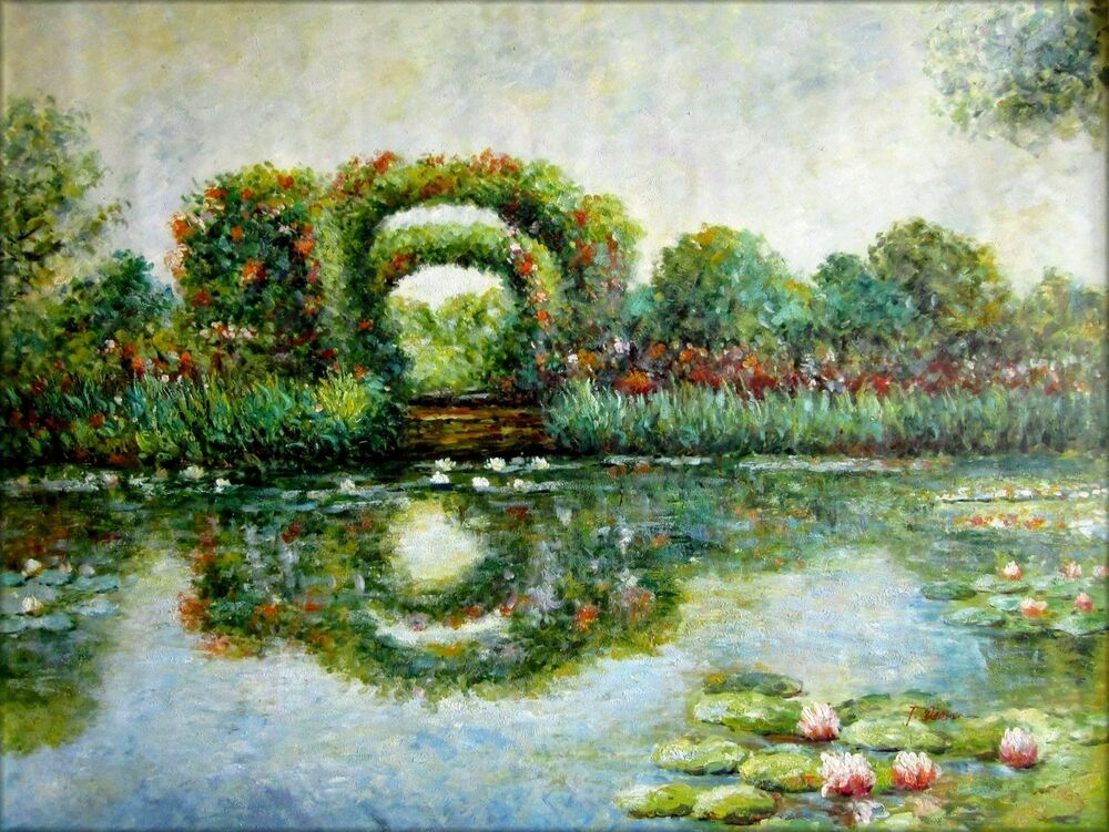 hand painted oil painting repro claude monet rose arches at giverny 36x48in ebay. Black Bedroom Furniture Sets. Home Design Ideas
