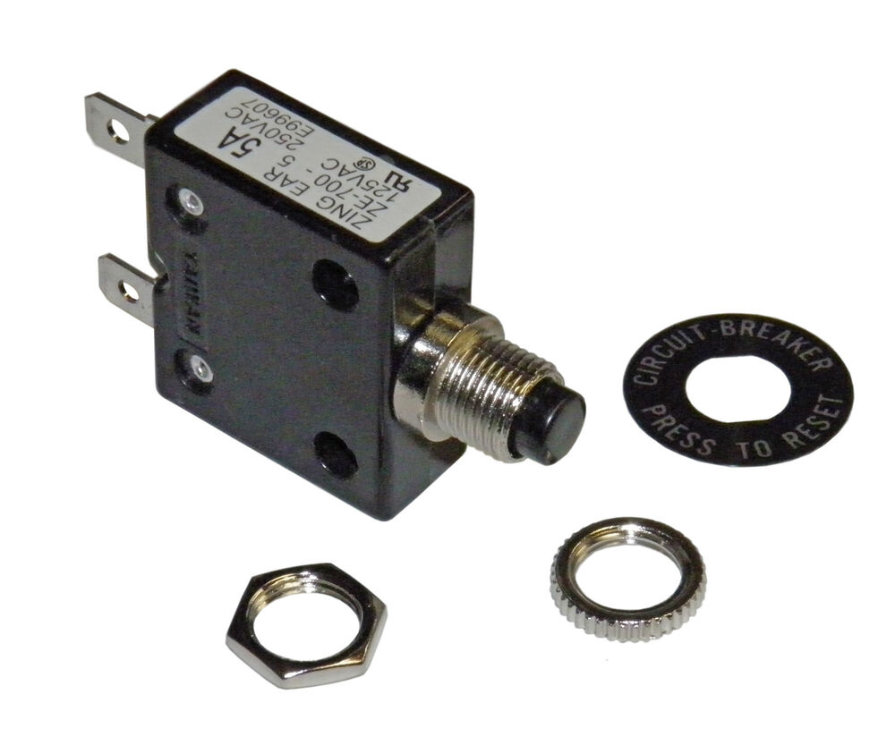 push button 5 amp circuit breaker for 12 24 50 volts dc or. Black Bedroom Furniture Sets. Home Design Ideas