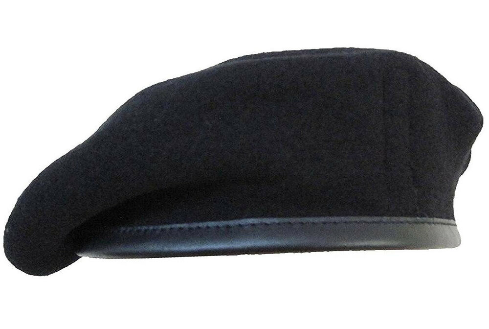 ARMY BLACK BERET Mens medium hat 100% pure wool SAS military soldier cap  56-58cm  a7a850b9bb3