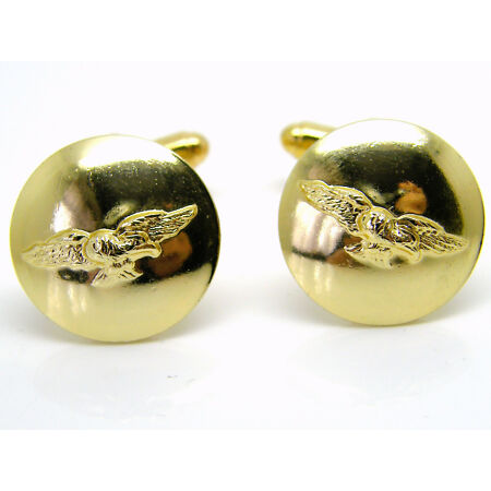 img-THE ROYAL AIR FORCE RAF WINGS DESIGN CUFFLINKS BUTTON BADGE IN FREE GIFT POUCH