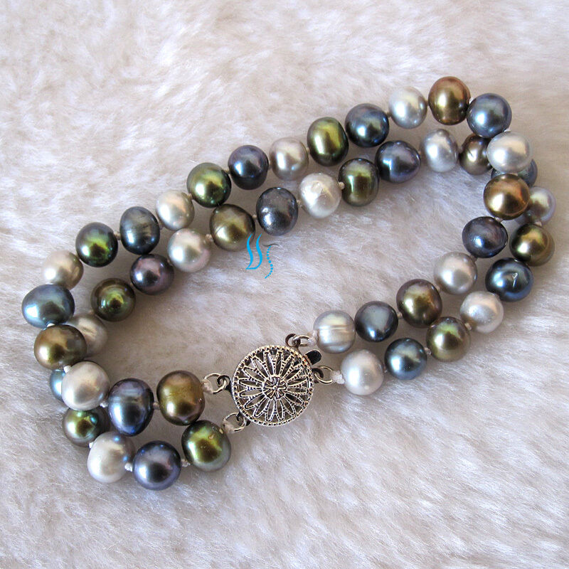 """Multi Row Pearl Necklace: 7.5"""" 2 Row 8.0 Multi Color Freshwater Pearl Bracelet Pearl"""