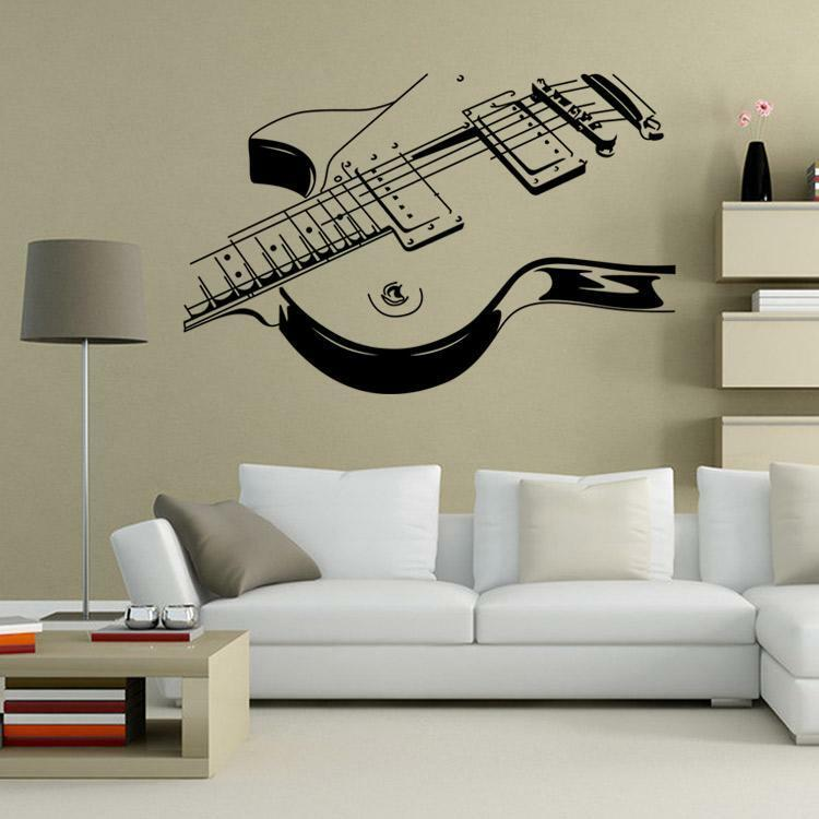 Guitar music wall art decal decor vinyl dance musical for Decor mural wall art