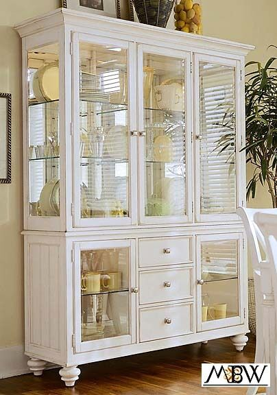 Distressed White Lighted 3 Drawer China Cabinet FREE SH