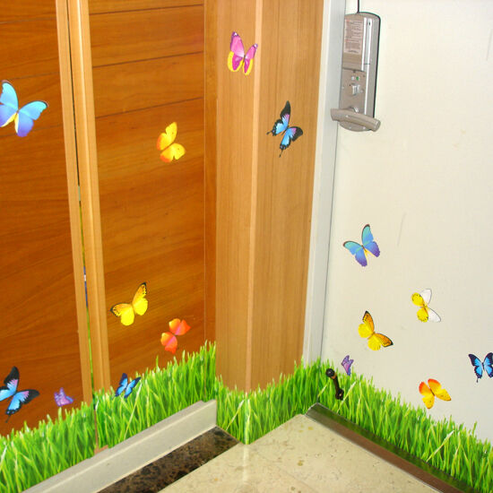 Butterfly Grass Wall Stickers Wall Border Self Adhesive