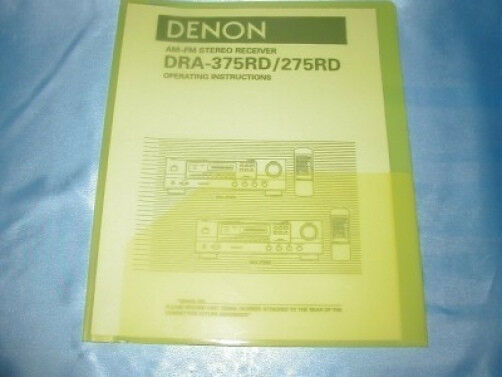 Denon dra-375rd/275rd receiver owners manual | owners manuals-pdf.